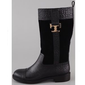 Tory Burch Corey Boots Black Suede Leather - 9.5